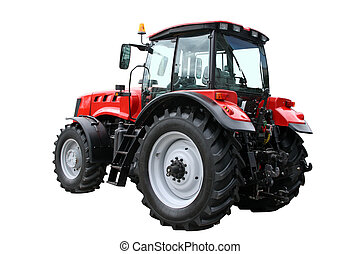 Red tractor separately on a white background