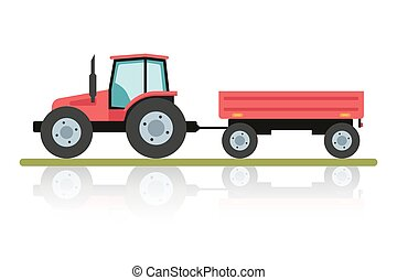 Red tractor with a trailer for transportation of large loads. Agricultural machinery in flat cartoon style isolated on white background.
