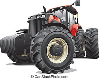 Detail vector image of large modern red tractor, isolated on white background. File contains gradients and transparency. No blends and strokes. Easily edit: file is divided into logical layers and groups.