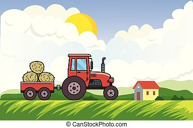 Red tractor with trolley full of hay on rural landscape background with the sun, clouds and a house. Vehicle on green meadow in the countryside. Flat vector illustration. Horizontal.