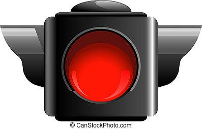Red traffic light isolated on white. EPS 10, AI, JPEG