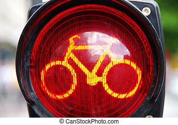 red traffic light for the bicycle lane in germany