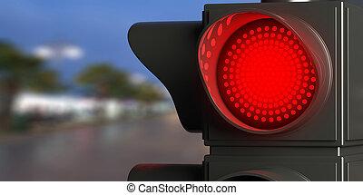 Red traffic lights on blur street background, copy space. 3d illustration