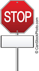 Red traffic stop sign on white