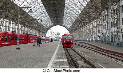 red train arrives at the Kiev station in Moscow Russia