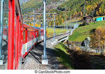 Red train from Tirano
