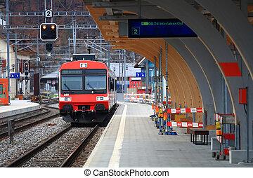 Red Train in Interlaken Station, Switzerland