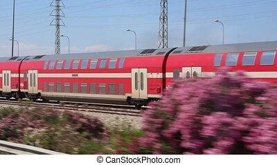 red train pass - Shot of red train pass
