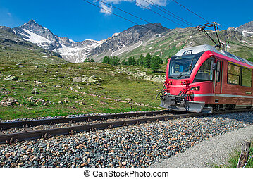 Red train to the Alps