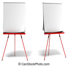 red flipchart over a white background, paper is white and empty, one front view and one profile view