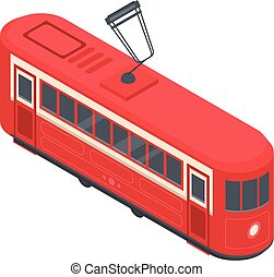 Red tram car icon, isometric style