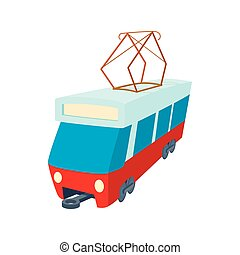 Red tram icon, cartoon style
