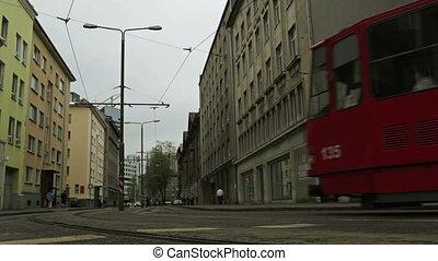 red tram in central street