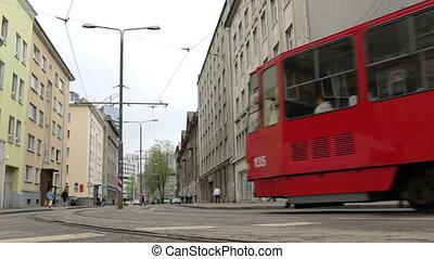 Red tram in Tallinn, Estonia.