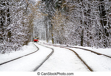 Red Tram rides through the winter forest between the trees covered with white snow