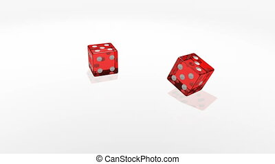 Red transparent cubes falling on the white mirror table of the casino in slow motion.