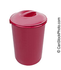Red trash can isolated