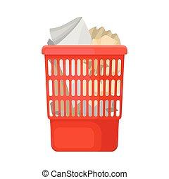 Red trashcan. Vector illustration on white background.