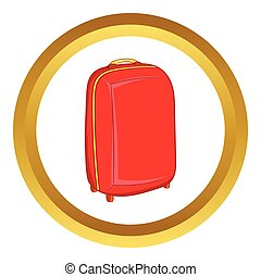 Red travel suitcase vector icon