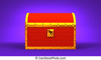 Red Treasure Chest On Purple Background.
