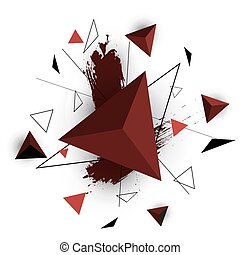 Red triangle abstract on white background