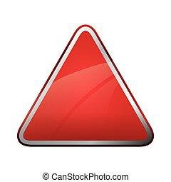 Red triangle icon. Road sign design. Vector graphic