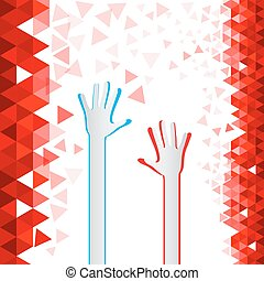 Red Triangles Background with Paper Cut Hands