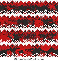 Red tribal geometric pattern with grunge effect.