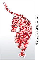 Red tribal tiger tattoo 2