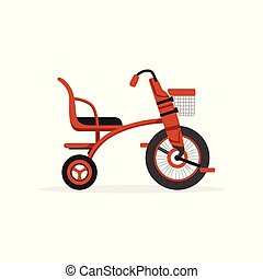 Red tricycle for children, kids bicycle vector Illustration