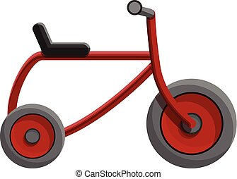 Red tricycle icon, cartoon style - Red tricycle icon....