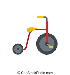 Red tricycle icon, flat style