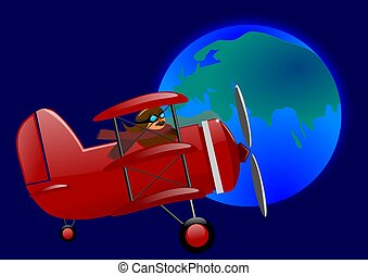 Red triplane and the globe
