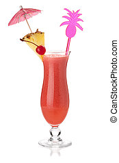 Red tropical cocktail with umbrella