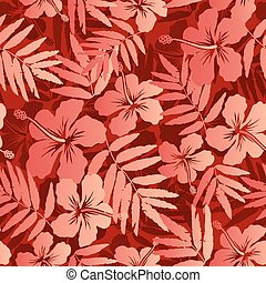 Red tropical flowers and leaves seamless pattern - Red...