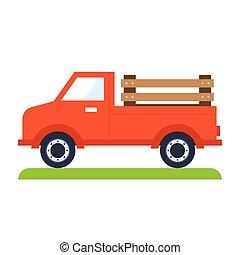 Red truck, flat vector illustration