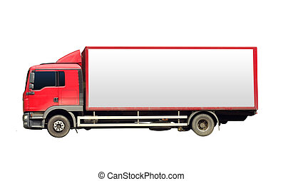 red truck for transport with white board isolated