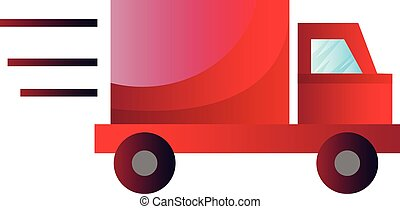 Red truck in high speed vector illustration on a white background