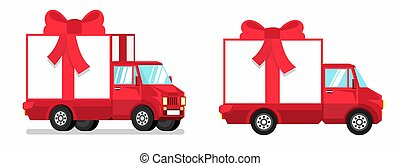 red truck Isolated with gift box