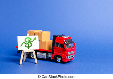 Red truck loaded with boxes and stand with a green dollar up arrow. Raise economic indicators and sales. Exports imports. High trade volumes, growth production, storage infrastructure Transit delivery