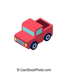red truck on white background