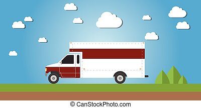 red truck van cargo delivery illustration concept
