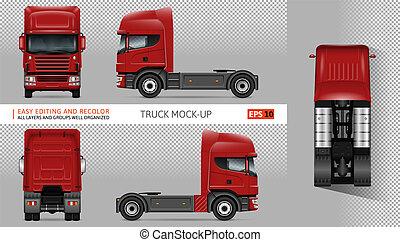 Red truck vector mockup.