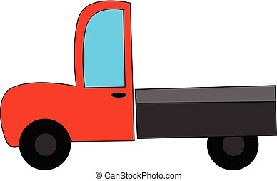 Red truck, vector or color illustration.