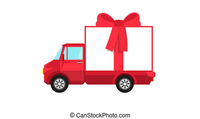Red truck with big gift box rides