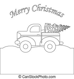 Red truck with christmas tree coloring page