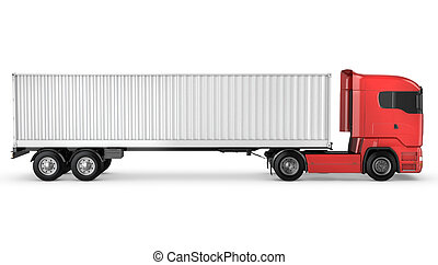Red truck with white blank freight container on a chassis...