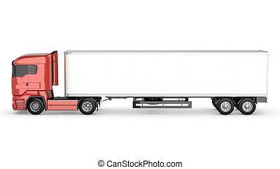 Red truck with white blank semi-trailer isolated on white...