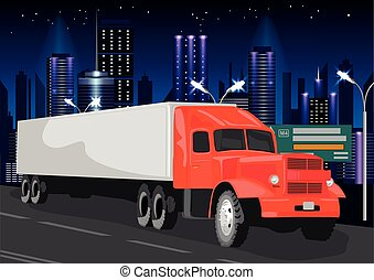 Red truck with white cargo container goes through night city