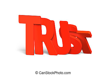 Red trust word of dominoes falling